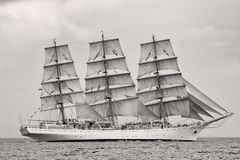 Old ship with white sales Stock Photo