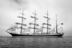 Old ship with white sales in black and white Stock Photo