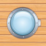 Porthole Window on a Wooden Ship. Vector Image Stock Images