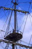 Old ship wooden mast Royalty Free Stock Images