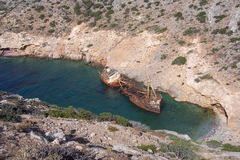 Old ship wreck in bay in Amorgos island in Greece Stock Image