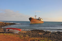 Old ship wreck on Costa Teguise of Lanzarote, spanish canary island Royalty Free Stock Photos