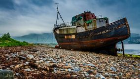 Old ship wreck in Fort William, Scotland stock footage