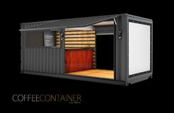 Old shipping container is converted into a chic coffee shop, 3d Illustration, solated black.  Stock Image