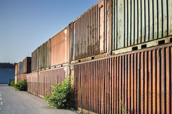 Old shipping containers Stock Photo
