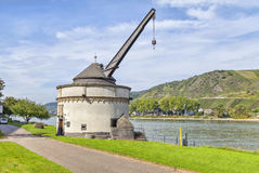 Old shipping crane in Andernach on Rhine river Royalty Free Stock Photo