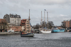 Old ships in Gdansk harbor Stock Photography