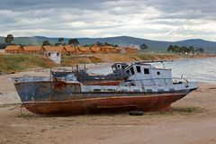 The old ships on the bank of Baikal Royalty Free Stock Image