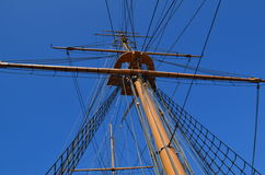 Old ships mast and rigging. Stock Photos