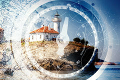 Old ships navigation background with old nautical compass Royalty Free Stock Photo