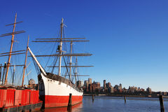 Old ships in NY South Street Seaport. Vs view to Boston Stock Image