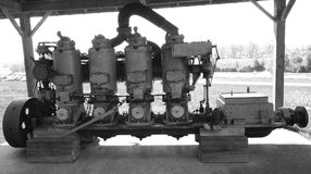 Old ships piston Engine. Still black and white picture of old model four pistons engine used in ships Stock Photography
