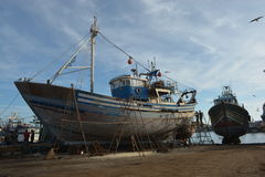 Old ships, port of Essaouira, Morocco Royalty Free Stock Photos