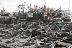 Old ships, port of Essaouira, Morocco Royalty Free Stock Image