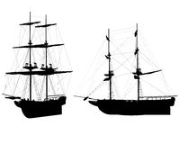 Old ships Silhouettes. Silhouettes of two old ship on white background Stock Images