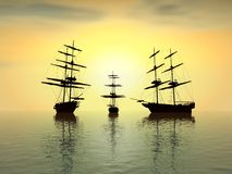 Old ships at sunset. Fantasy view of three old ship at sunset - digital art work Stock Photo