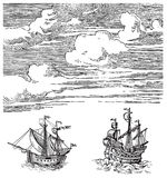 Old ships vector. Vector illustration of ships and sky Stock Image