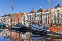 Old ships and warehouses in the historical center of Groningen Stock Photography