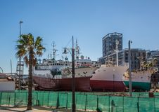Old Ships at the Waterfront in Cape Town at the Western Cape in South Africa. During summer stock images