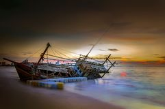 An old shipwreck. Or abandoned shipwreck Stock Images