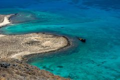 Old shipwreck by Gramvousa island stock photo