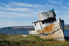Old Shipwrecked Boat. Shipwrecked Boat in Tomales Bay California Stock Photos
