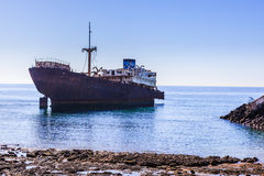 Old shipwrecks located in the seashore. In Arrecife Royalty Free Stock Photo