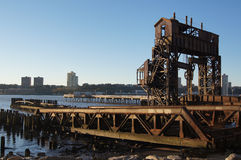 Old shipyard on the Manhattan Hudson riverbank Stock Photography