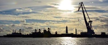 Old shipyard at the sunset Royalty Free Stock Image