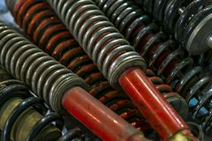 Old shock absorbers. Close view stock images