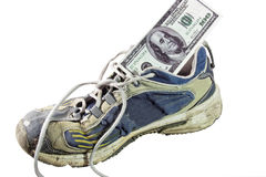 Old Shoe with Cash Stock Image