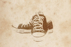 Old shoe drawing Stock Photos
