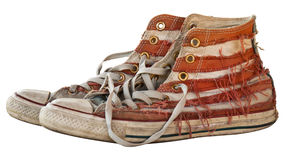 Old shoe in isolated Royalty Free Stock Photography