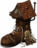 The old shoehouse. Fairytale shoe house Stock Photos