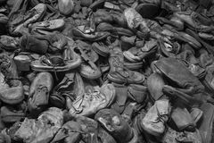 Old shoes. A big pile of old shoes in black and white Royalty Free Stock Images
