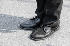 Old a shoes black ,Old Boots Royalty Free Stock Image