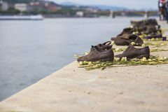 Old shoes on the Danube Stock Image