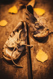Old Shoes For Poor Child Stock Photo