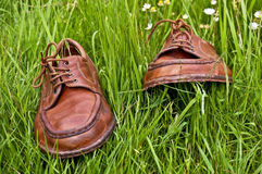 Old leather shoes brown  Royalty Free Stock Photography