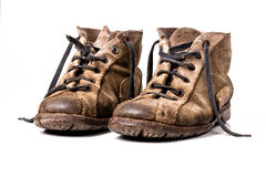 Old shoes. Isolated on white background Stock Photos