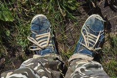 An old  shoes, past many ways. Royalty Free Stock Photos