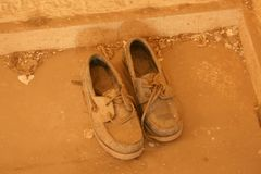 OLD SHOES 2. Photographs of a beautiful abandoned villa stock photo