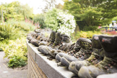 Old shoes in a row Stock Photography