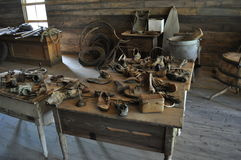 Old Shoes. Old shoe collection from mining ghost town in Garnet,, MT Royalty Free Stock Photos