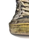 Old shoes. Ugly old shoes isolated on white backgroud Royalty Free Stock Photography