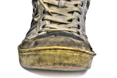 Old shoes. Ugly old shoes isolated on white backgroud Royalty Free Stock Photo