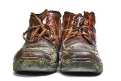 Old shoes. Ugly old shoes isolated on white background Royalty Free Stock Photography