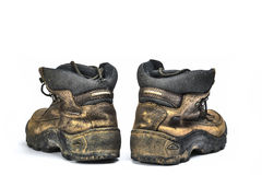 Old shoes. Ugly old shoes isolated on white background Stock Photography