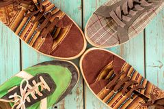 Old shoes. Various colors and vintage style stock image
