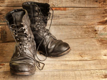 Old shoes on vintage planks Stock Images